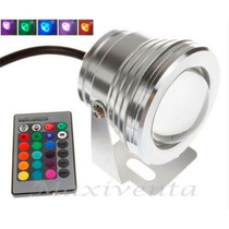 Reflector Led 10w Rgb Sumergible Exteriores Control Remoto
