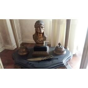 Tintero Escribano Antiguo Bronce Marmol - Indio - Escultura