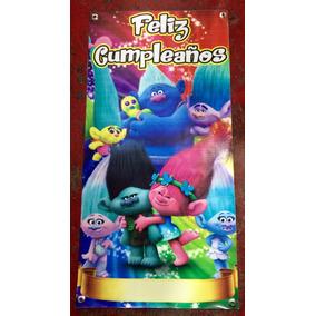Lona Letrero Feliz Cumpleaños Fiesta Trolls