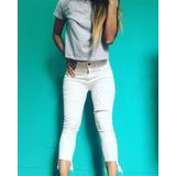 Pantalon Jeans Chupin Mujer Blanco Perlitas Roto Lovetokio 7970586076a2