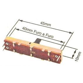 16 Potenciometro Deslizante A20k 45mm Total P/ Mesa Staner
