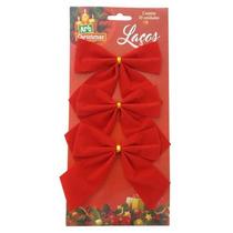 Enfeite De Natal Laço Vermelho Veludo 3 Peças