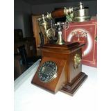 Telefone Antigo Dourado Retro Madeira Ano 50/60 Novo
