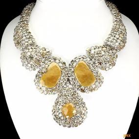 Collar De Zafiros Amarillos Y Zircon Naturales 705 Ct Jm138