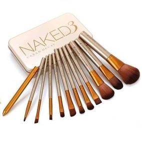 Estojo 12 Pincéis Naked3 Maquiagem Sombra Base Pó Blush