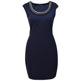 Vestido Sin Mangas Collar Dama Mujer Azul Marino 1817 Zoara