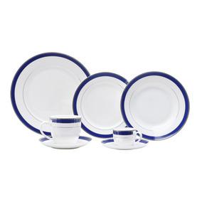 Jogo De Jantar De Porcelana 42 Peças Alto Relevo Cobalt Silv
