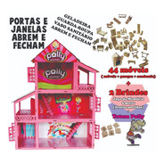 Casinha Boneca Polly +34 Mini Móveis +brinde  Madeira Mdf