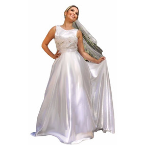 Vestido Noiva Elegante Com Cauda Partylight Atelier + Brinde