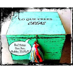 Baúl Caja Cofre Madera Tapa Vintage Antiguo Rústico Decorada