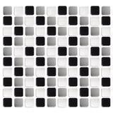 Pastilha Adesiva Resinada - 30x30 - Preto Branco Cinza Claro