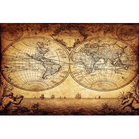 Mapa Mundi Antigo 60x90cm Decoração Retrô Papel Fotográfico