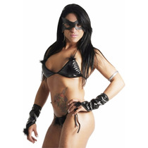 Fantasia Feminina Erótica Sexy Conjunto Mulher Gato Completa