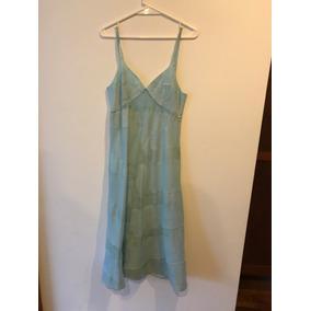 Vestido Trosman Color Verde Agua Con Aplicación De Goma.