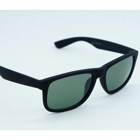 Óculos Masculino Quadrado Justin Preto Lente Verde Polarizad