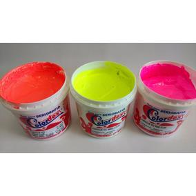 3 Tinta Hidrocolor Fluorescente + 1 Tinta Metalcolor Prata