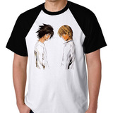 Camiseta Raglan Blusa Camisa L Kira Death Note Light Caderno