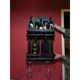 Botelleros Artesanal De Hierro Y Madera