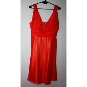 Vestido Naranja Con Chalina Para Fiesta Divina Caída! L