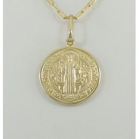 Pingente Medalha De São Bento M Ouro 18k 750 Super Promoção