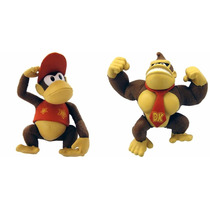 Kit World Of Nintendo- 2 Bonecos- Donkey Kong + Diddy Kong