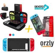 7-1 Kit Funda Nintendo Switch Orzly + Vidrio 9h Premiun + Silicona Completo Estuche Accesorios Joy Con