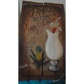 Cartel Vintage Madera Pintado A Mano Piña Colada