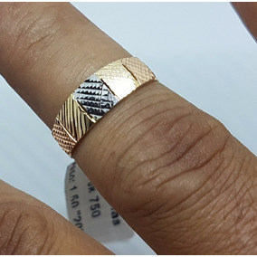 Anel Em Ouro 18k 750 Tricolor 3 Cores De Ouro Joia Impecável