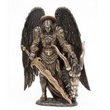 Escultura Del Arcangel Miguel De 28cm Acabado En Bronce