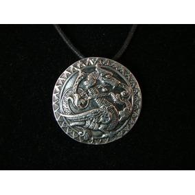 Cordão Corrente Pingente Prata Medalha Dragão