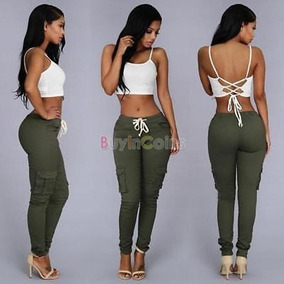 Moda Mujer Jeans Elásticos Pantalones Denim... (s, Green)
