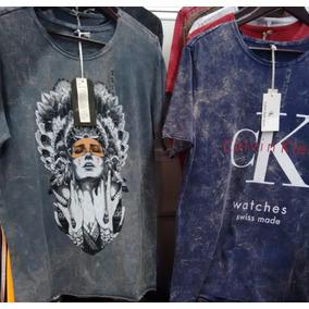 Kit 5 Camisa Camiseta Masculina Malha Lavada Grife Marcas
