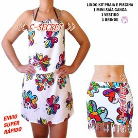 Vestido Saída Praia E Mini Canga Kit Romero Brito Original
