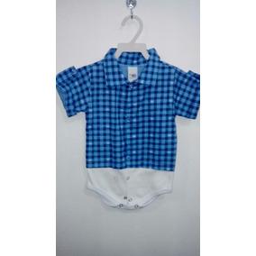 Body Infantil Camisa Social Masculino Xadres Azul Preto Pmg