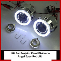 Par Kit Projetor Farol Bi Xenon Angel Eyes Carro Moto H1 H4