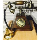 Telefono Modelo Antiguo Madera Analogo 27 Cm Discado