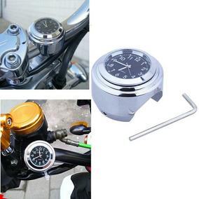 Relógio Guidão Moto Custom Chopper Cromado E Preto 7/8 E 1