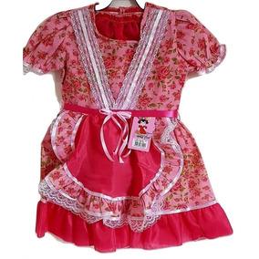 Vestido De Festa Junina Infantil Caipira Menina Rosa Babados