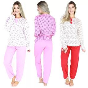 Pijama Longo Adulto Feminino Blusa De Botões E Calça Inverno
