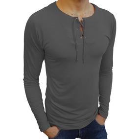 Camiseta Slim Bata Ilhós Masculina Blusa Manga Longa