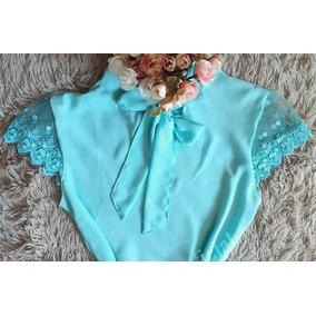 Blusa Em Crepe Gravatinha Manga Em Tule Azul/rosa