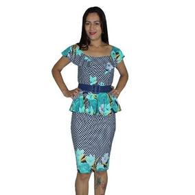 Conjunto Moda Evangélica Feminino Peplum Estampado Ref 00205