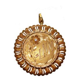 Medalla De Oro Sólido 18 K Con Aguamarina Genuina Y Cadena