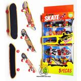 Kit Com 5 Skate De Dedo Fingerboard Sk8 Plástico - Com Lixa