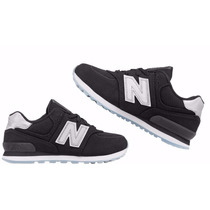 Zapatillas New Balance 574 N°38 24,5 Cm Negras Y Gris