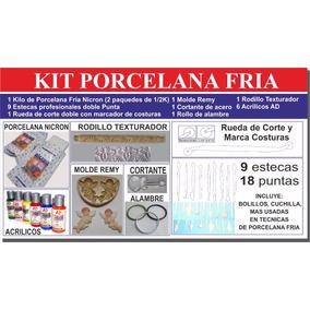 Kit Porcelana Fria Nicron Estecas Bolillos Pinturas Moldes