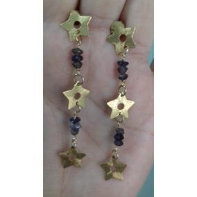 Brinco Ouro 18k 750 Estrelas