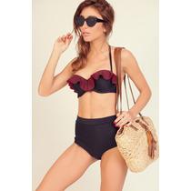 Malla Bikini Oferta -10%! Negro Con Escoses Rojo. Tiro Alto