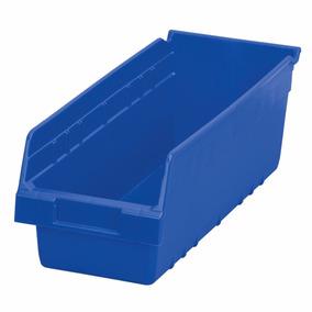 Lote 10 Cajas Organizadoras Azul 45x15x15 Plástico Duro