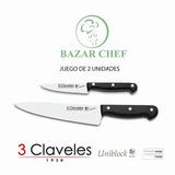 3 Claveles Set Cuchillos Uniblock Profesional X2 Bazar Chef